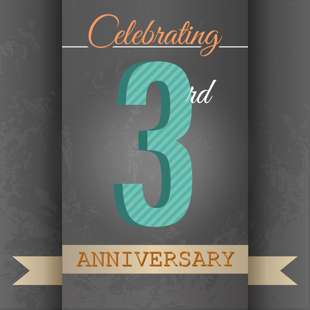 3rd Anniversary poster   template design in retro style - Vector Background Vector