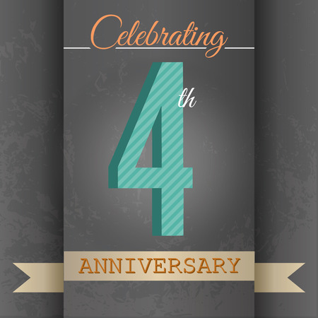 four texture: 4th Anniversary poster   template design in retro style - Vector Background Illustration