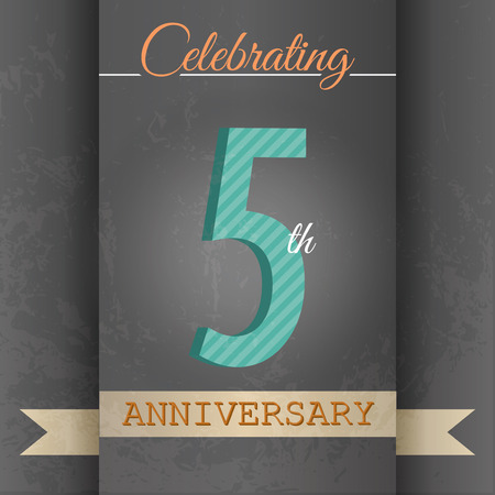 5th Anniversary poster   template design in retro style - Vector Background Vector