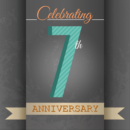 seventh: 7th Anniversary poster   template design in retro style - Vector Background