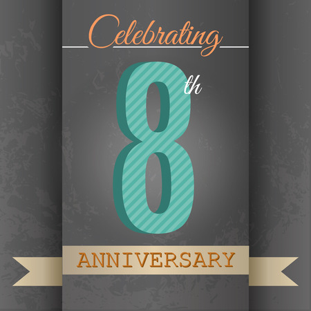 eight year old: 8th Anniversary poster   template design in retro style - Vector Background Illustration