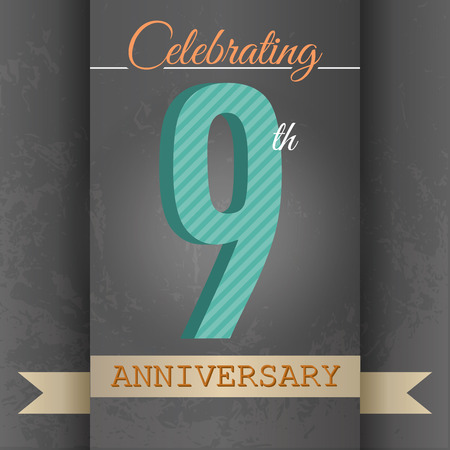 9th: 9th Anniversary poster   template design in retro style - Vector Background Illustration