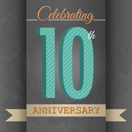 numero diez: 10 º Aniversario de diseño de la plantilla del cartel estilo retro - vector del fondo Vectores