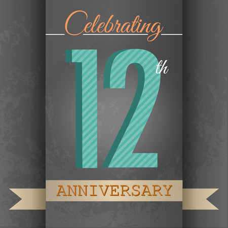 12th Anniversary poster   template design in retro style - Vector Background Vector