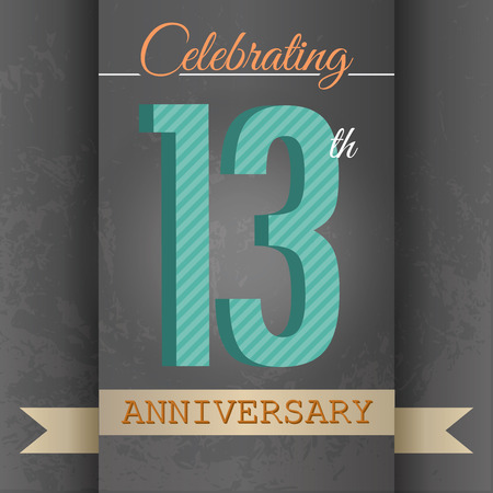 13: 13th Anniversary poster   template design in retro style - Vector Background