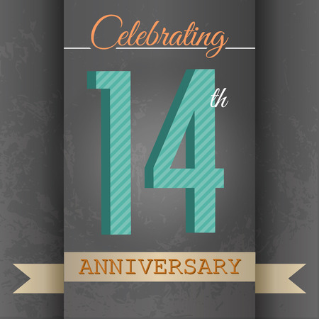 number 14: 14th Anniversary poster   template design in retro style - Vector Background