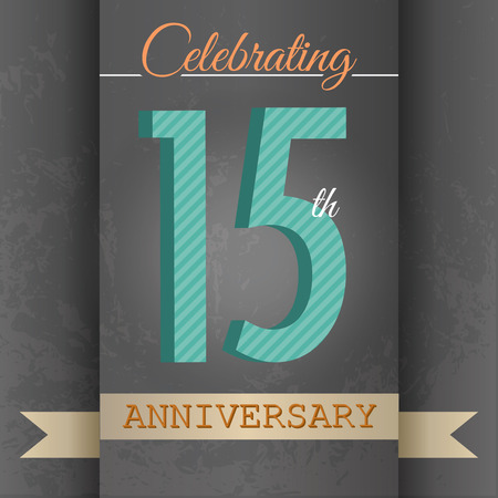 fifteen year old: 15th Anniversary poster   template design in retro style - Vector Background Illustration