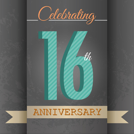 sixteen year old: 16th Anniversary poster   template design in retro style - Vector Background Illustration