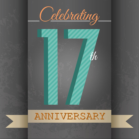 17th: 17th Anniversary poster   template design in retro style - Vector Background Illustration