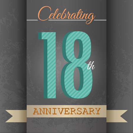 18th: 18th Anniversary poster   template design in retro style - Vector Background Illustration
