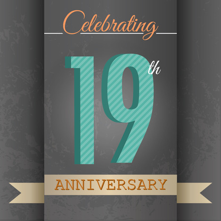 19th: 19th Anniversary poster   template design in retro style - Vector Background
