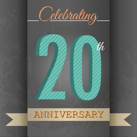 20th: 20th Anniversary poster   template design in retro style - Vector Background Illustration