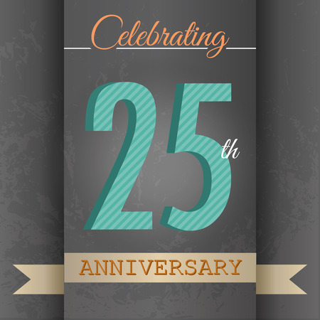 twenty fifth: 25th Anniversary poster   template design in retro style - Vector Background