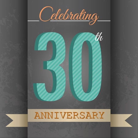 30: 30th Anniversary poster   template design in retro style - Vector Background