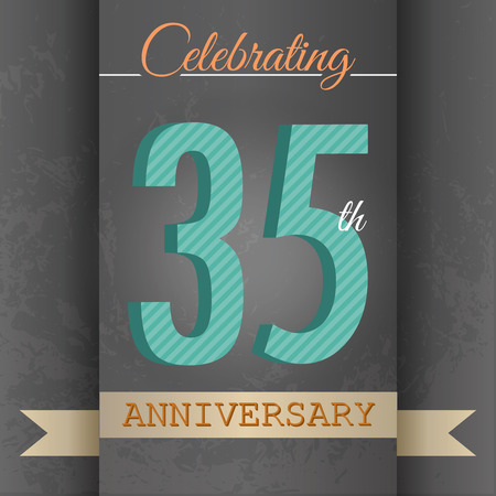 35th Anniversary poster   template design in retro style - Vector Background Illustration