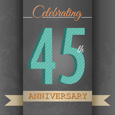 45th: 45th Anniversary poster   template design in retro style - Vector Background