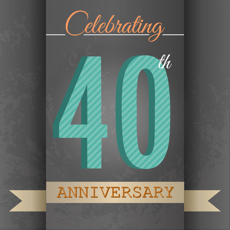 40th: 40th Anniversary poster template design in retro style-Vector Background