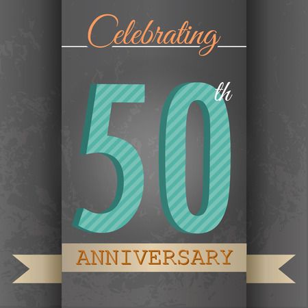 50 years: 50th Anniversary poster template design in retro style-Vector Background Illustration