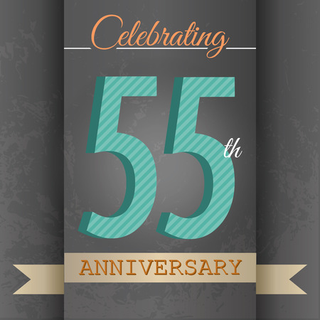 50 to 55 years old: 55th Anniversary poster   template design in retro style - Vector Background