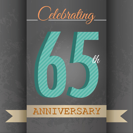 65th: 65th Anniversary poster   template design in retro style - Vector Background