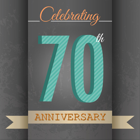 seventieth: 70th Anniversary poster   template design in retro style - Vector Background Illustration