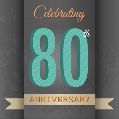 80 years: 80th Anniversary poster   template design in retro style - Vector Background