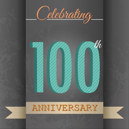 100th Anniversary poster   template design in retro style - Vector Background 일러스트