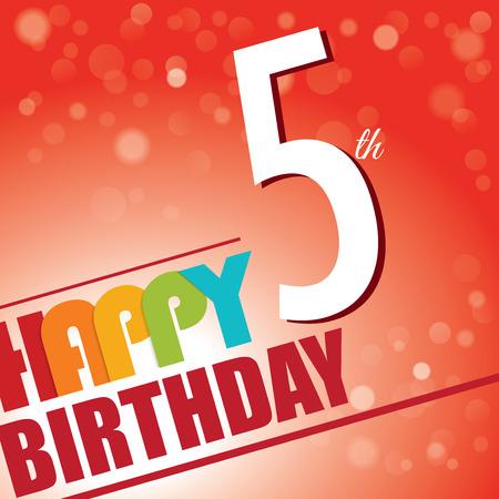 5th: 5th Birthday party invite template design in bright and colourful retro style Illustration