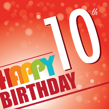 tenth birthday: 10th Birthday party invite template design in bright and colourful retro style