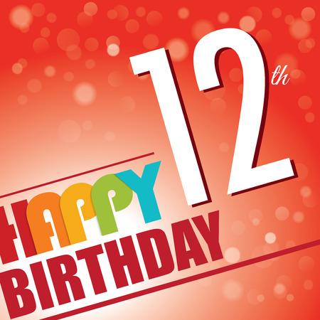 12th Birthday party invite template design in bright and colourful retro style Vector
