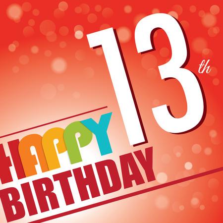 13th: 13th Birthday party invite template design in bright and colourful retro style Illustration