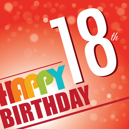 happy 18th birthday: 18th Birthday party invite template design in bright and colourful retro style