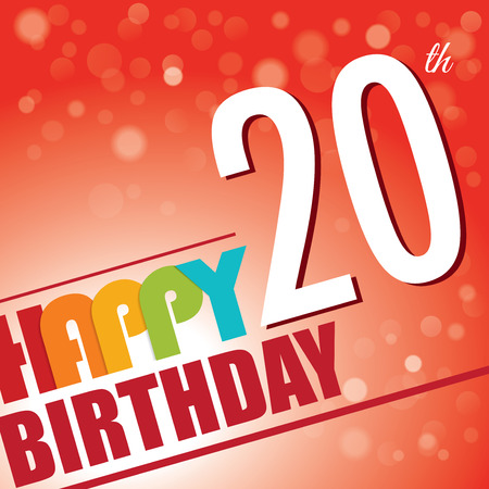 twentieth: 20th Birthday party invite template design in bright and colourful retro style Illustration