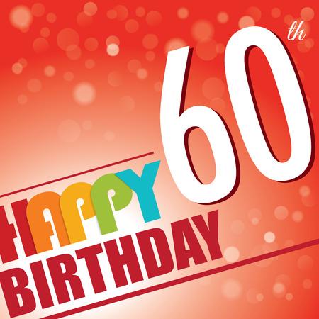 60th Birthday party invite template design in bright and colourful retro style - Vector Vector