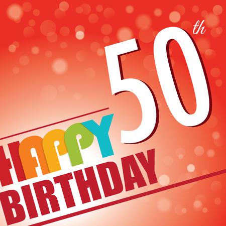 明るく、カラフルなレトロなスタイルの 50 の誕生日パーティー招待テンプレート デザイン  イラスト・ベクター素材