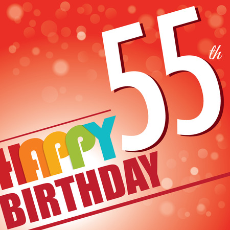 fifty: 55th Birthday party invite template design in bright and colourful retro style