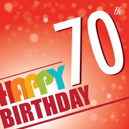 seventieth: 70th Birthday party invite template design in bright and colourful retro style - Vector Illustration
