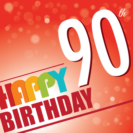 90 years: 90th Birthday party invite template design in bright and colourful retro style - Vector