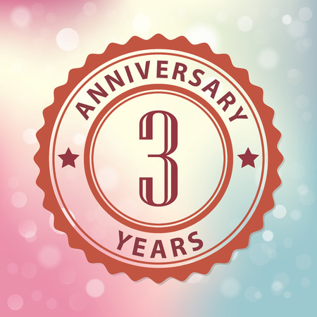 third birthday: 3 Years Anniversary  - Retro style seal, with colorful bokeh background