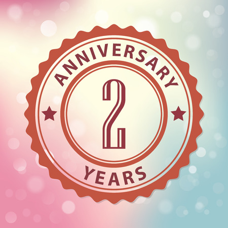 second birthday:  2 Years Anniversary  - Retro style seal, with colorful bokeh background  Illustration