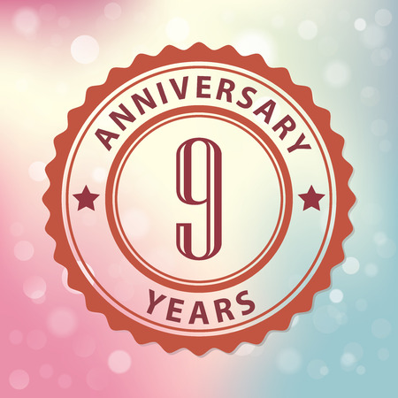 9th: 9 Years Anniversary  - Retro style seal, with colorful bokeh background