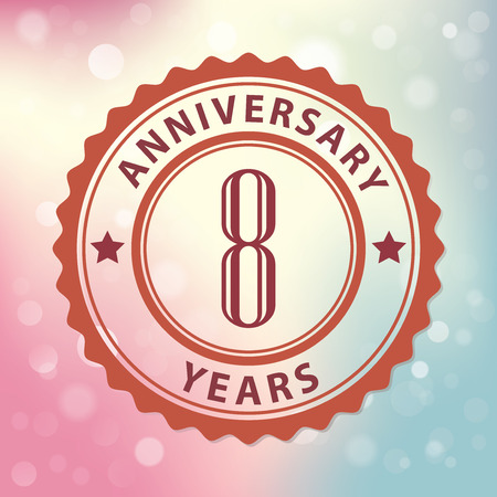 8 Years Anniversary  - Retro style seal, with colorful bokeh background