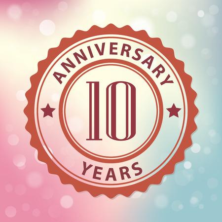10 周年記念スペシャル - カラフルなボケ背景のレトロなスタイルのシール