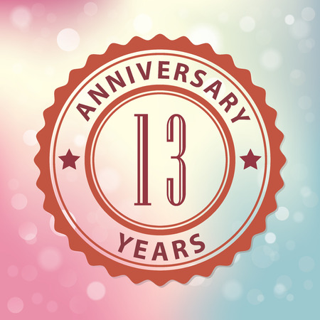 13:  13 Years Anniversary  - Retro style seal, with colorful bokeh background  Illustration