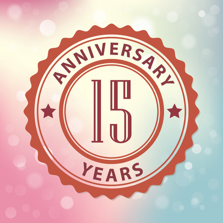 15 Years Anniversary  - Retro style seal, with colorful bokeh background  Vector