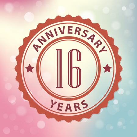 number 16:  16 Years Anniversary  - Retro style seal, with colorful bokeh background