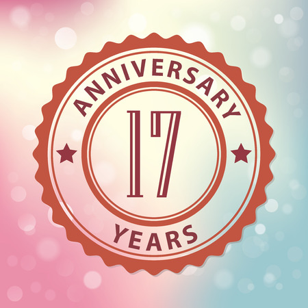 17 Years Anniversary  - Retro style seal, with colorful bokeh background