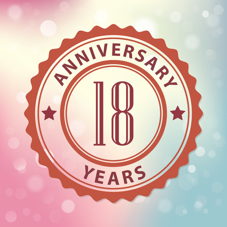 18 Years Anniversary  - Retro style seal, with colorful bokeh background  Vector