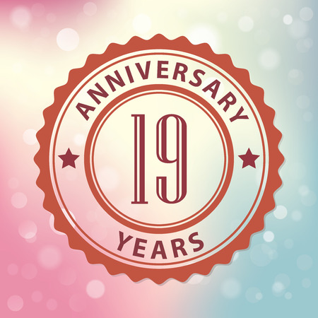 19th:  19 Years Anniversary  - Retro style seal, with colorful bokeh background