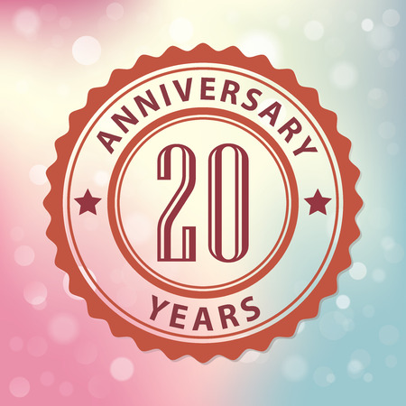20th:  20 Years Anniversary  - Retro style seal, with colorful bokeh background  Illustration